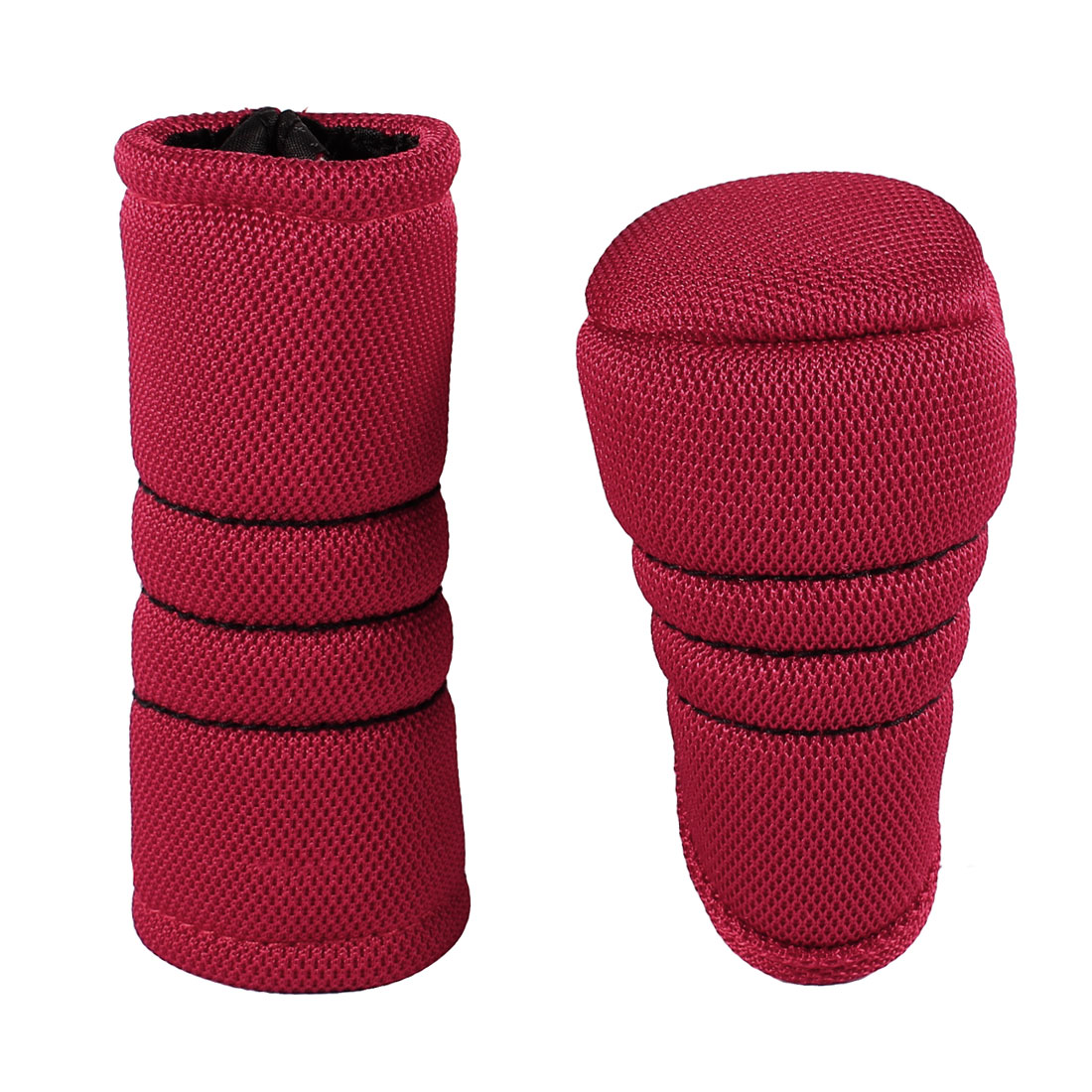 Car Auto Red Nylon Zip up Gear Shift Knob Cover + Hand Brake Cover Sleeve Protector Pad