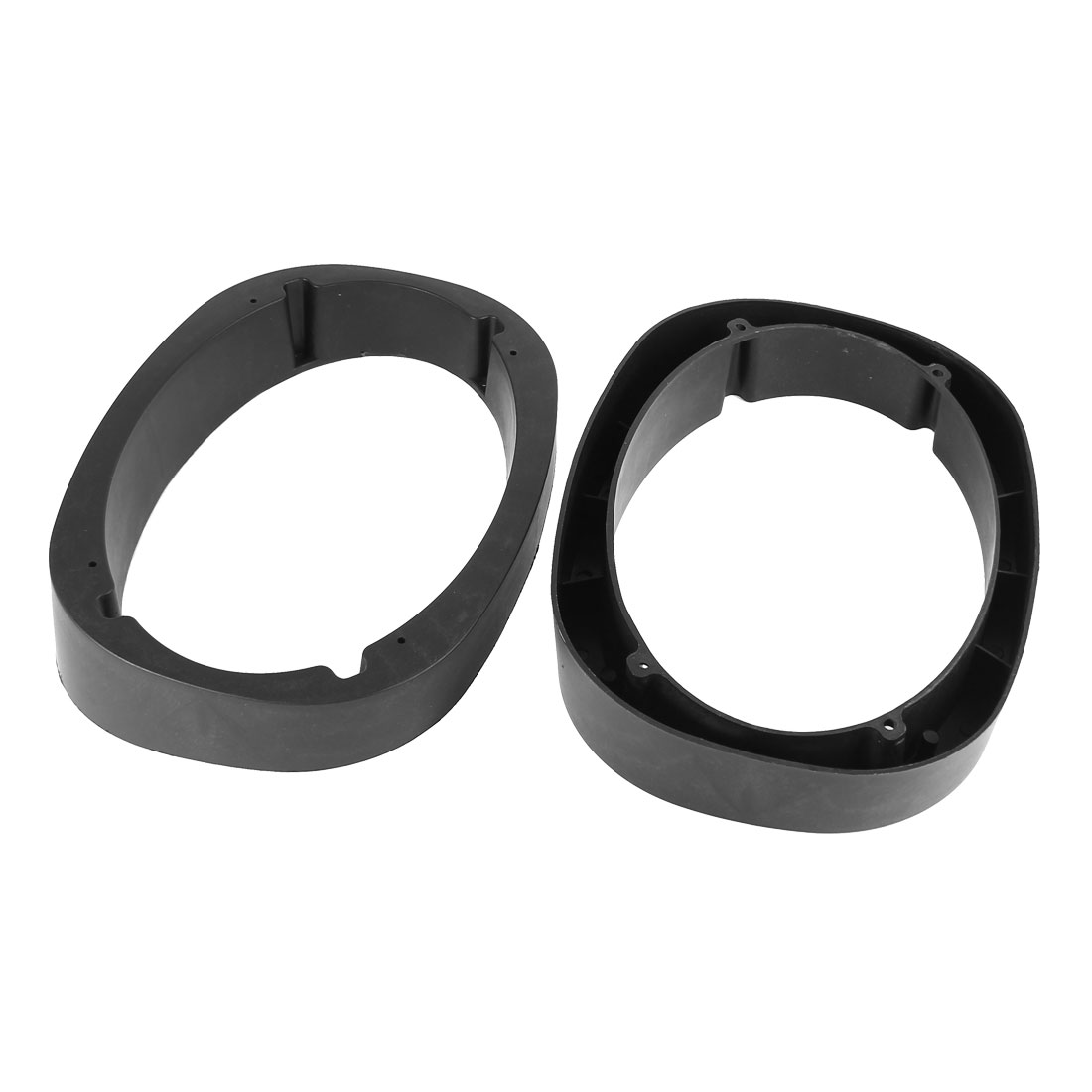 2 Pcs Black Universal 32mm Depth Plastic Spacer Ring 222x152mm Oval Car Speaker