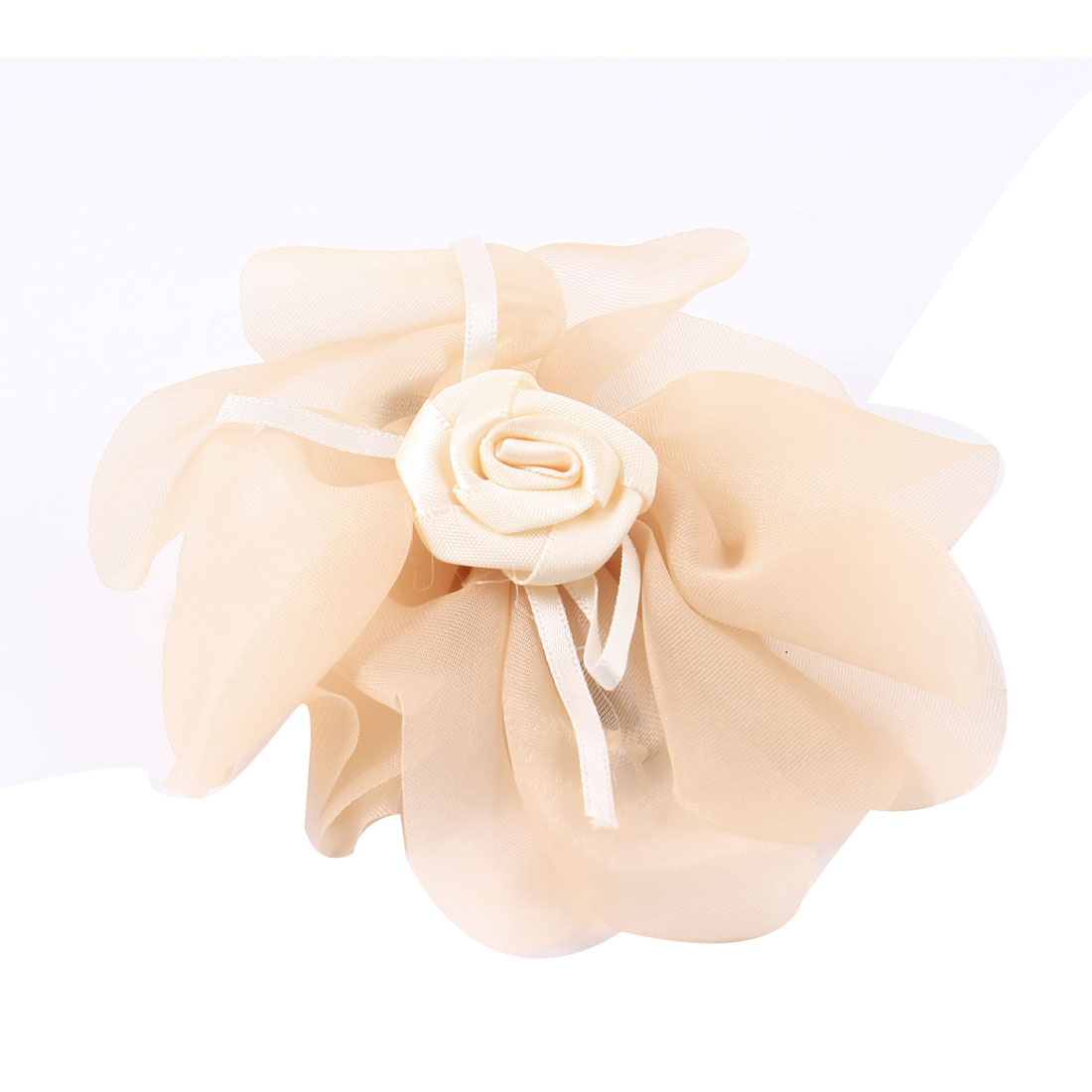 "Lady Beige Chiffon Floral Detailing 2.4"" Length Metal Alligator Hair Clip"