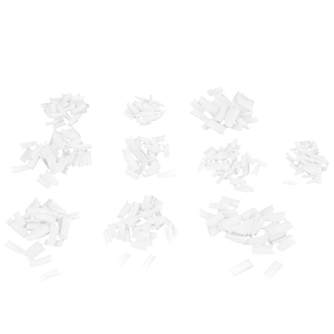 500pcs 10 Different Size White False Fingernail Nail Art Half Tips