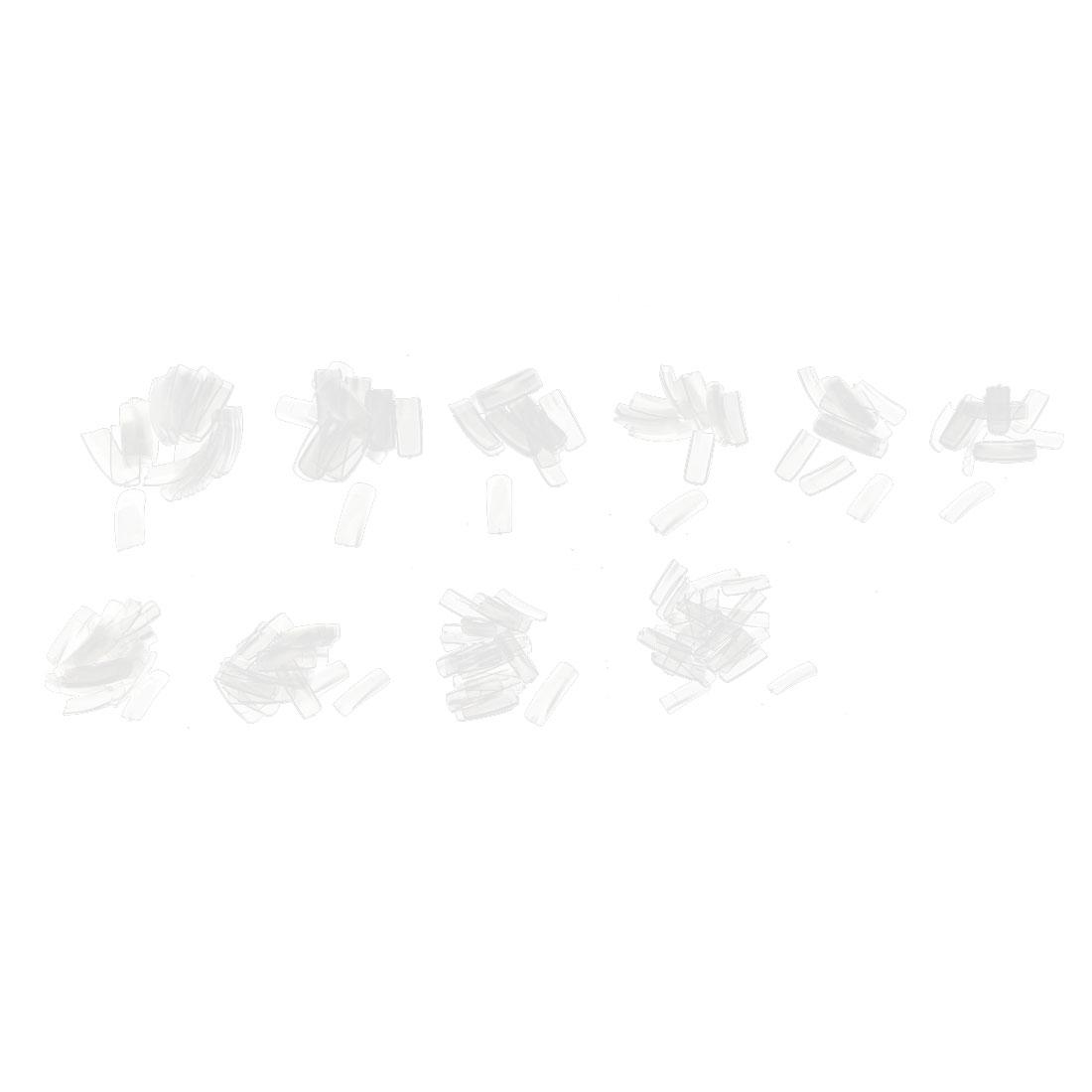 500 Pcs Clear Plastic Rectangle False Nail Art Fingernail Tips 10 Size