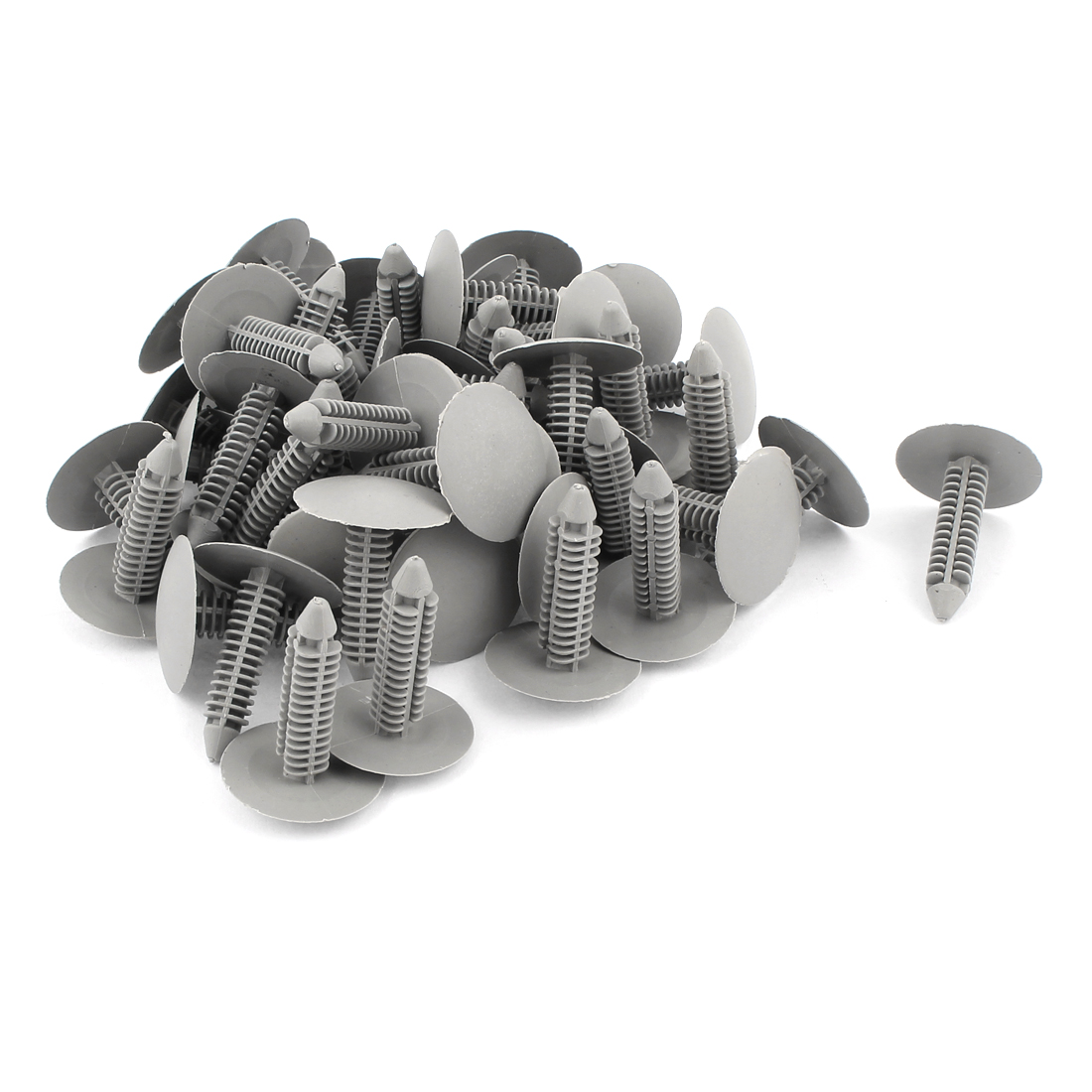 50 Pcs Gray Car 7mm Hole Dia Plastic Rivets Fastener Fender Bumper Push Pin Clips