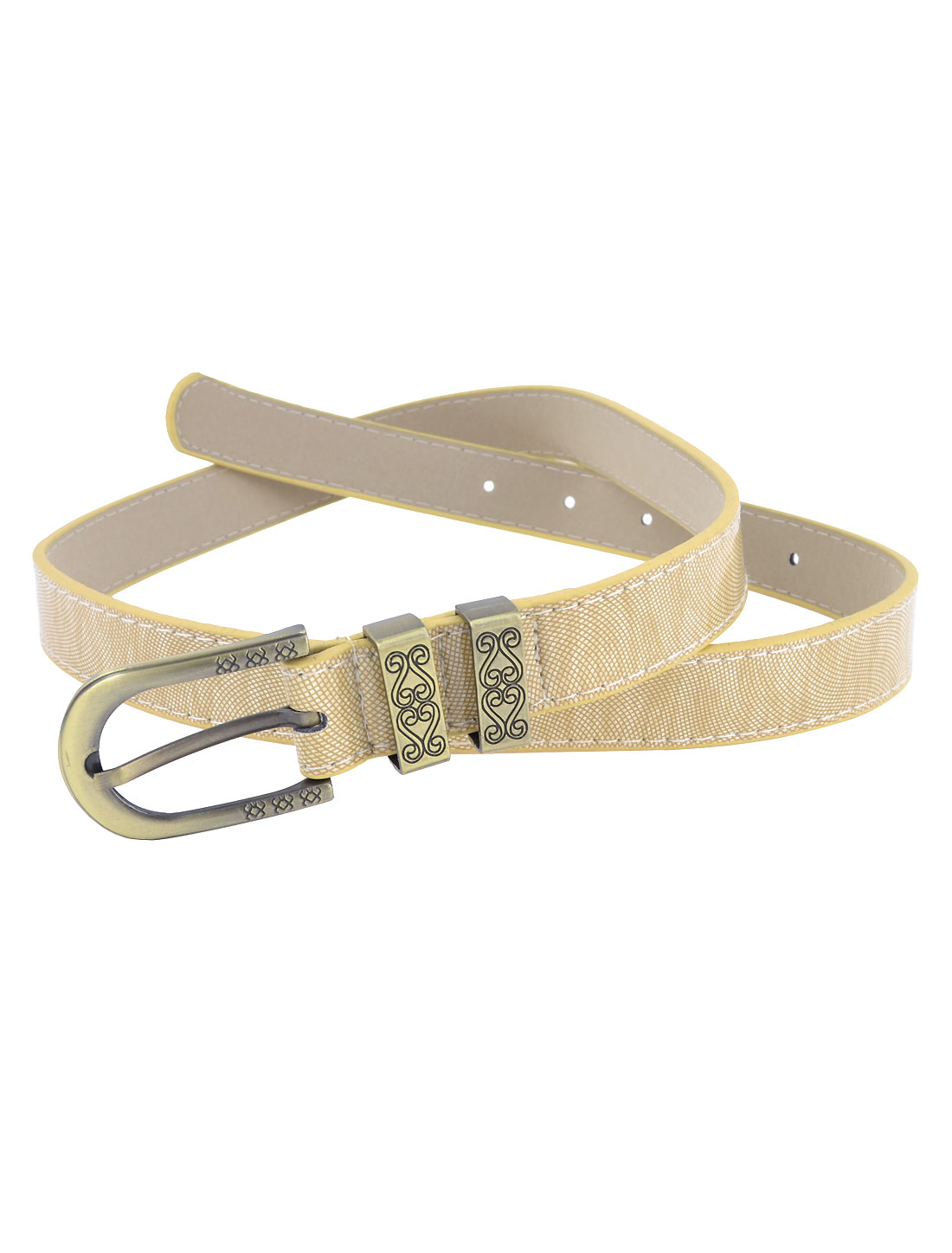 Ladies Single Pin Buckle Snake Pattern Faux Leather Band Waist Belt Beige