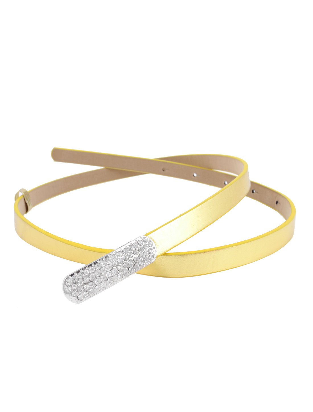 Lady Metal Press Stud Buckle Faux Leather Band Slim Waist Belt Gold Tone
