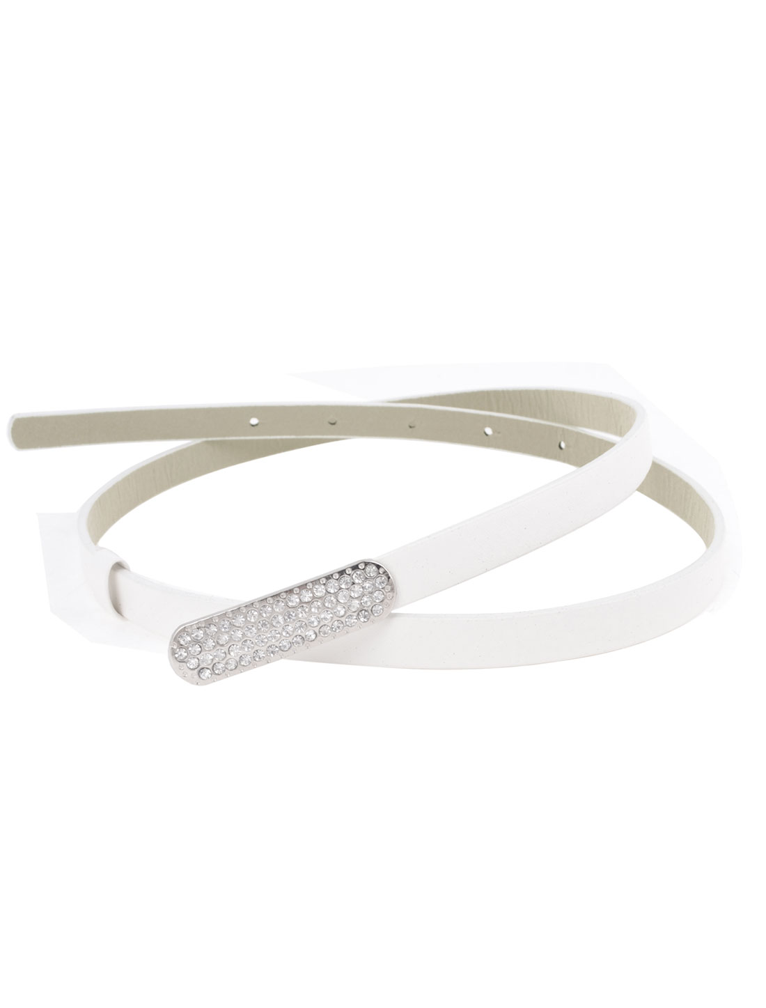 Lady Metal Press Stud Buckle Faux Leather Band Slim Waist Belt White