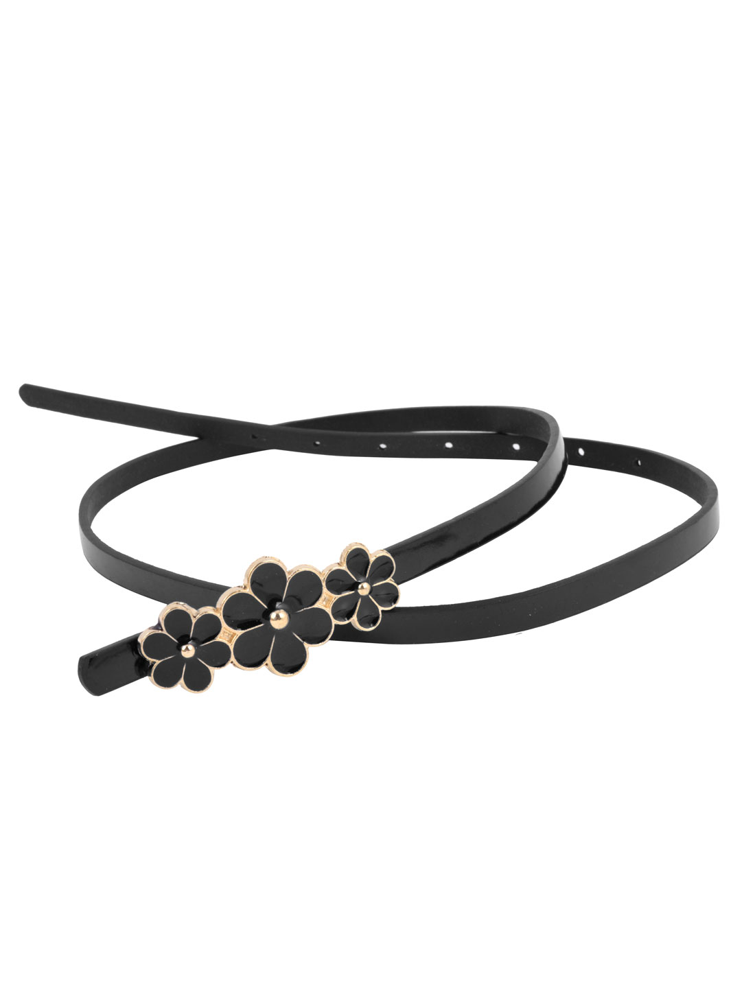 Women Flower Decor Press Buckle Perforated 7-hole Faux Leather Slim Waist Belt Black