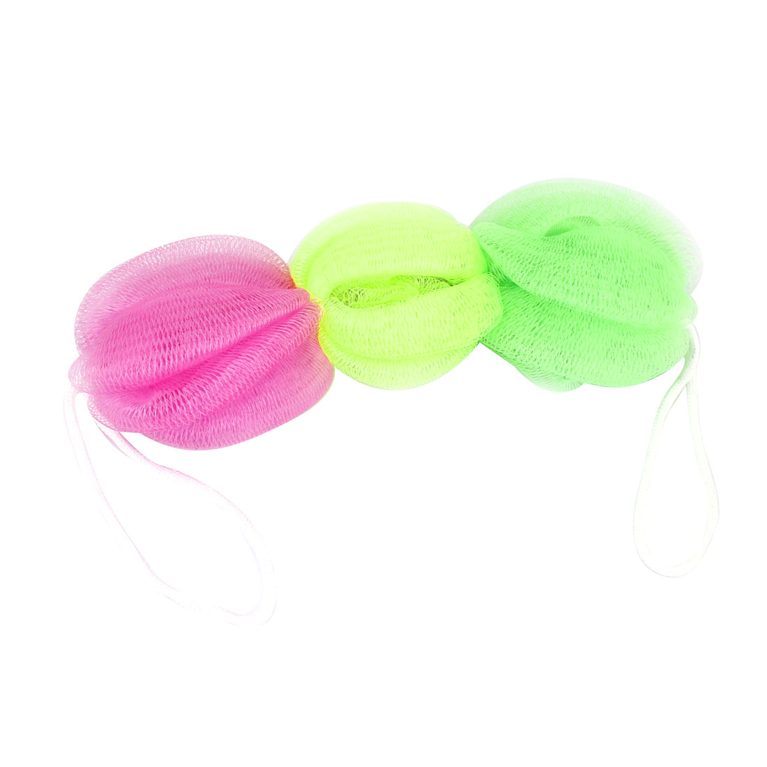 Body Cleaner Foam Bubbles Puff Scrubber Bath Shower Pouf Pink Bright Green