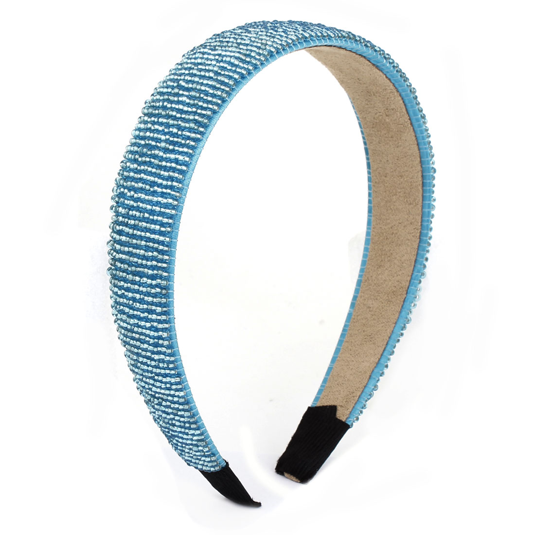 Blue Plastic Mini Beads Accent Narrow Hairband Hair Hoop for Lady