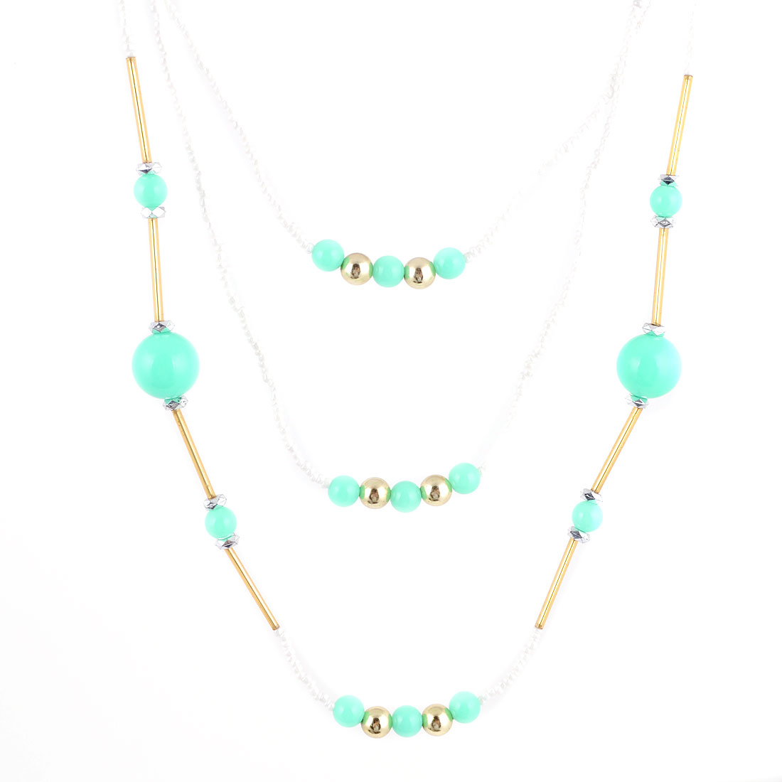 Ladies Cyan White Plastic Beads Decor 3 Layers Sweater Necklace