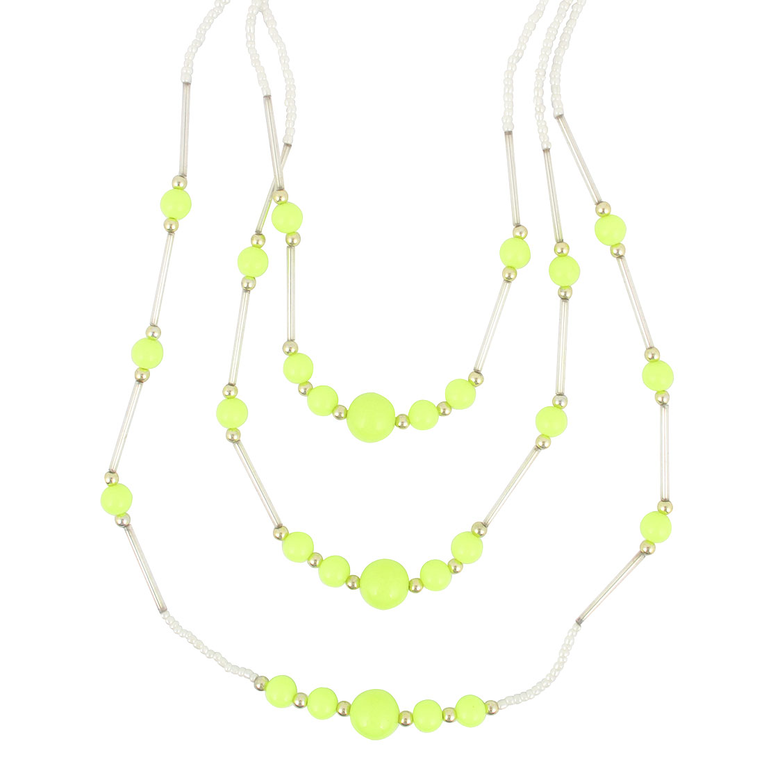 Ladies Yellow Green Plastic Beads Decor 3 Layers Sweater Necklace