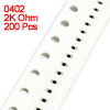 200 Pcs Communication 0402 1005 1mm x 0.5mm 2K Ohm 1/16W 5% Tolerance Surface Mount Thin Film SMT SMD Chip Resistors