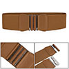 Ladies Bowknot Shaped Interlocking Buckle Elastic Belt Waistband Brown
