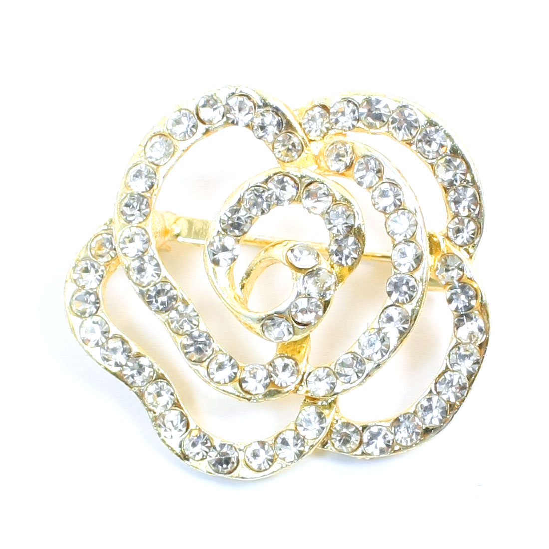 Women Dress Ornament Rhinestone Hollow Out Blossomy Flower Decor Gold Tone Metal Pin Brooch Broach Breastpin