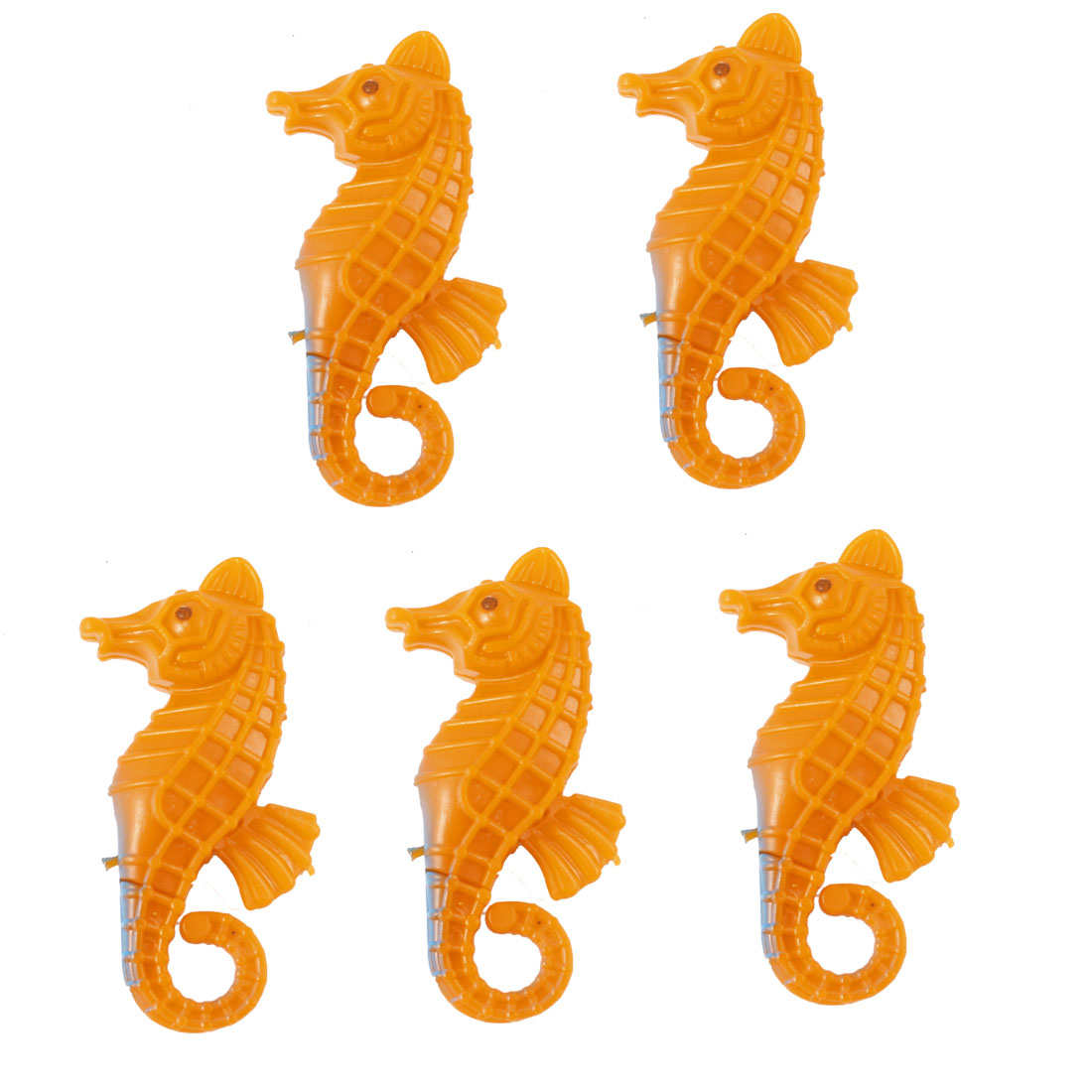 5pcs Fish Bowl Orange Plastic Emulational Movable Seahorse Decor
