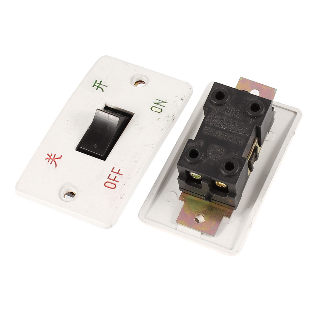2 Pcs Plastic Panel 4 Termitals 2 Phase DPST NO ON/OFF Switch 10A 220V AC for Grinding Machine