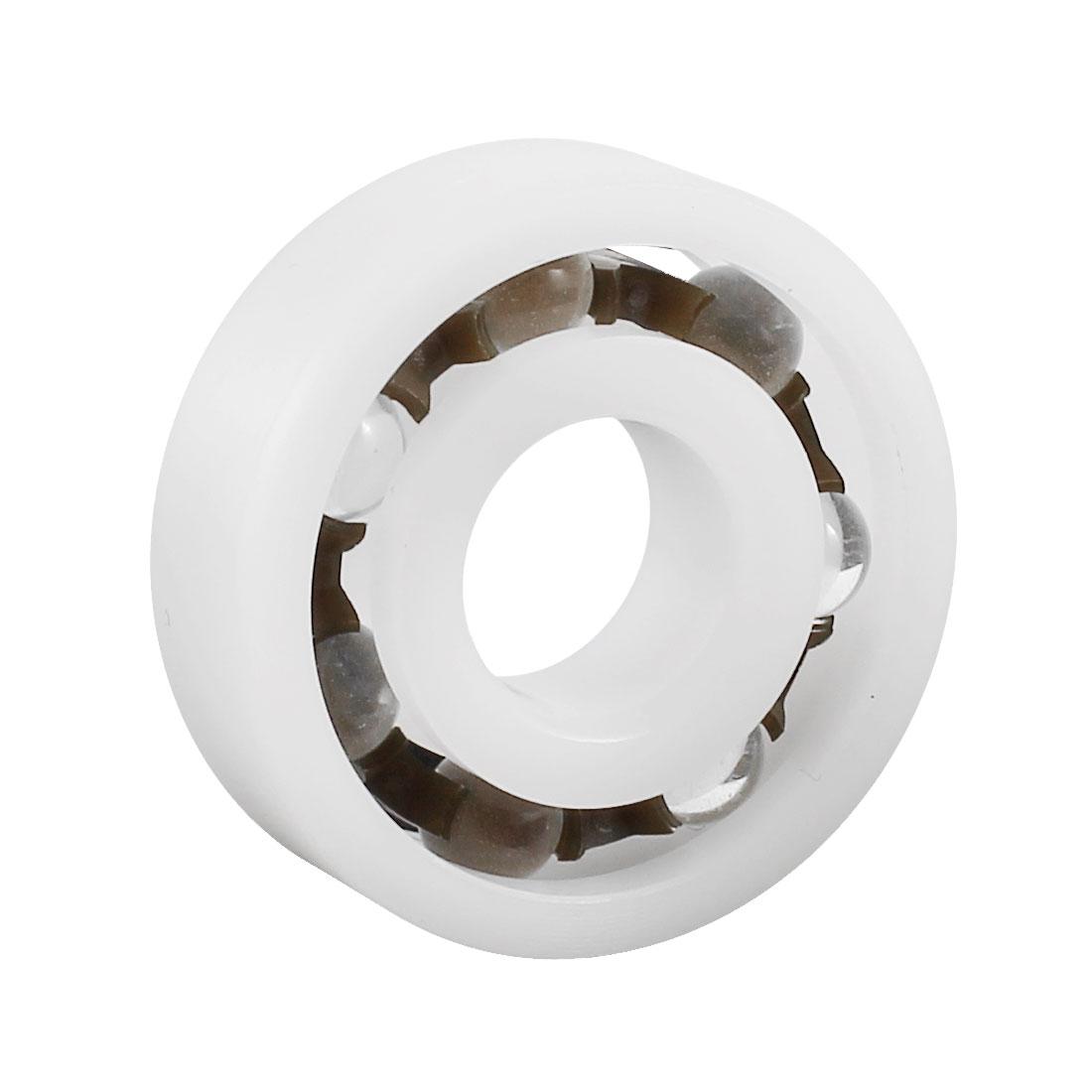 White POM Plastic Glass Deep Groove Radial Ball Bearing 6201 12x32x10mm