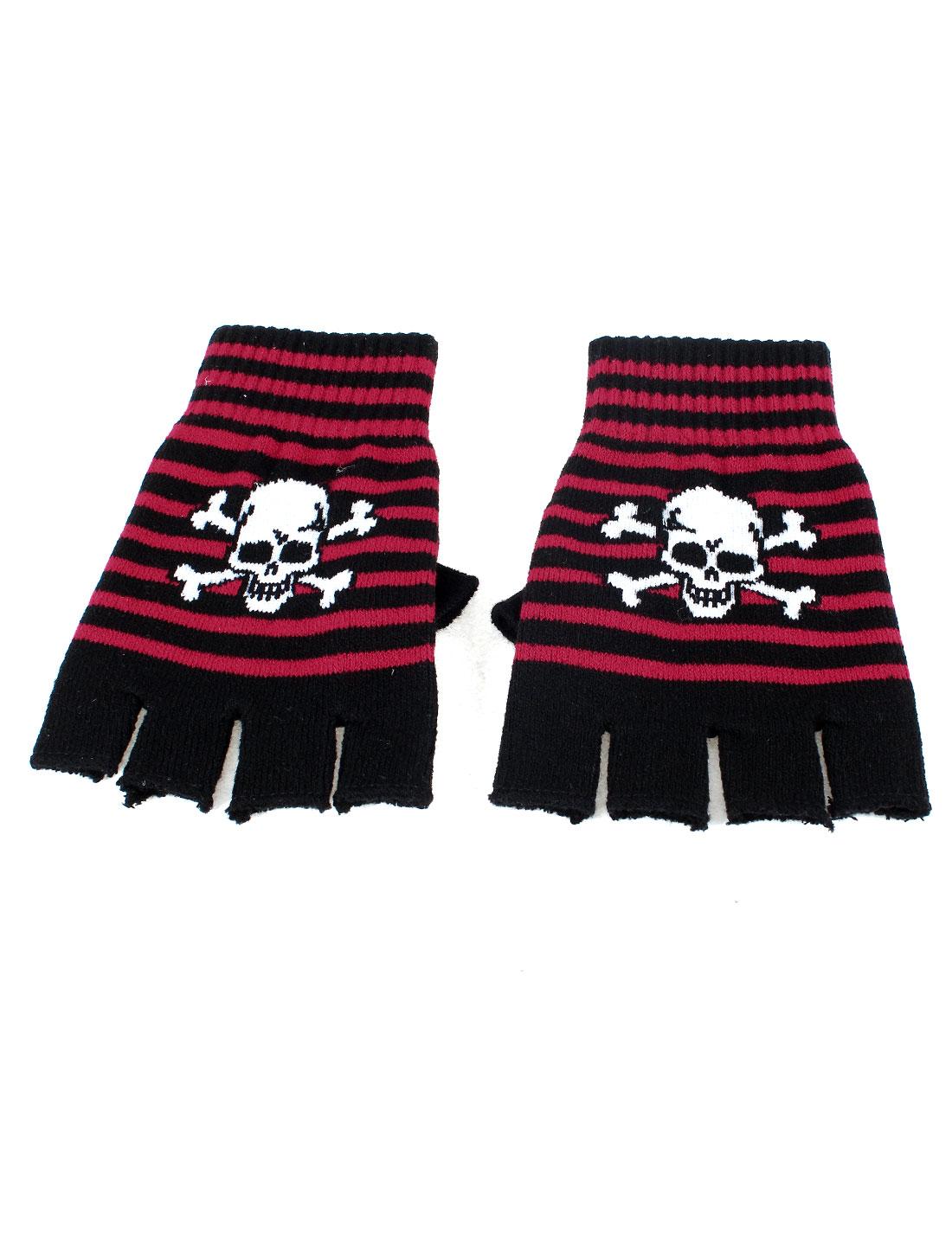Ladies Striped Skull Pattern Black Red Acrylic Knitting Winter Fingerless Gloves Pair