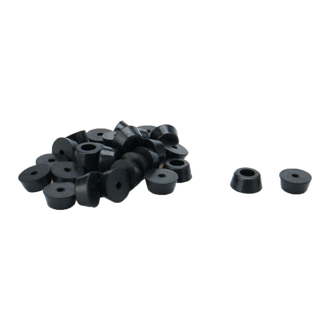30Pcs Home Office 12mm Hole Diameter Furniture Table Chair Leg Protector Cone Shaped Black Rubber Feet Pads