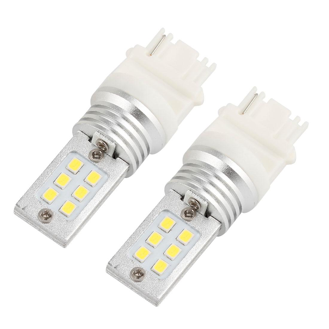 2pcs White 3156 Base 3528 SMD 12 LED Car Turn Signal Light Reverse Tail Lamp