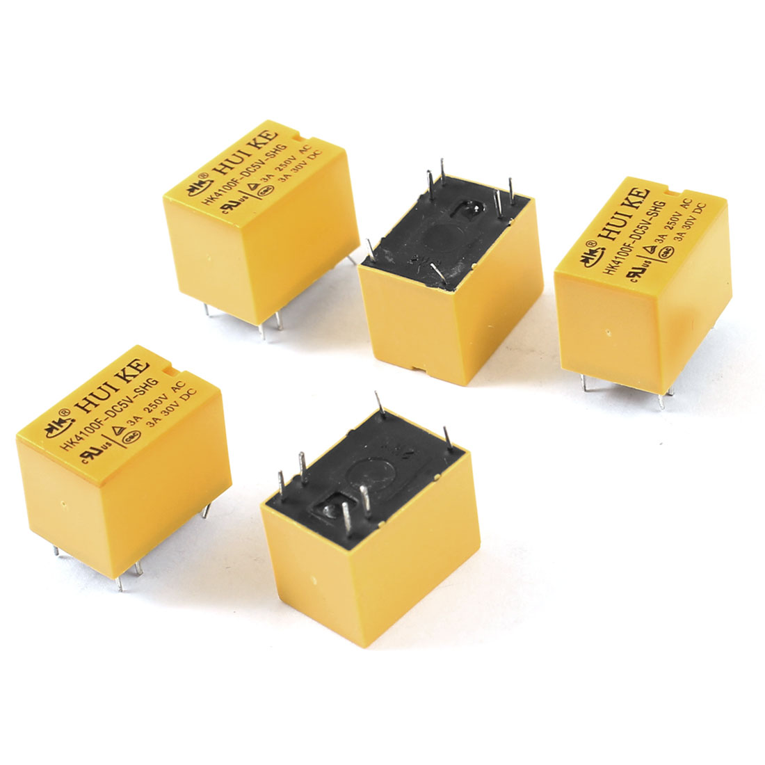 5 Pieces DC 5V Coil SPDT 6-Pin PCB Type Mini Power Relays Yellow