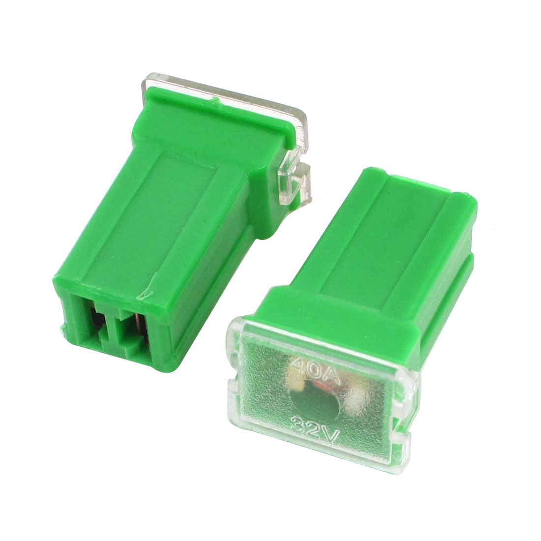 2Pcs 2 Terminals Car Vehicle Automotive Female Plug Type Cartridge PAL Fuse Green DC 32V 40A
