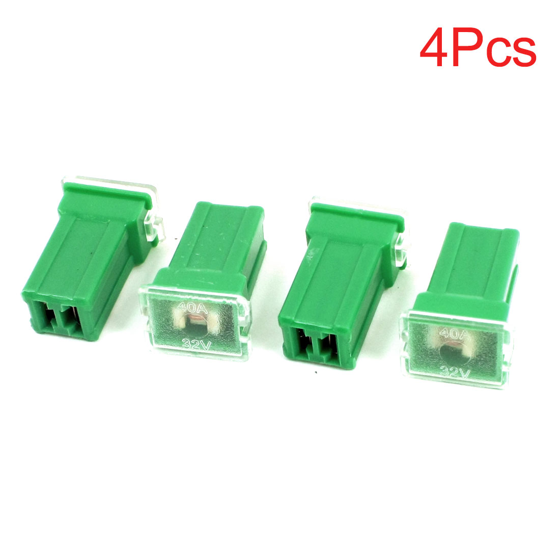 4Pcs 2 Terminals Car Vehicle Auto Female Plug Type Cartridge PAL Fuse Green DC 32V 40A