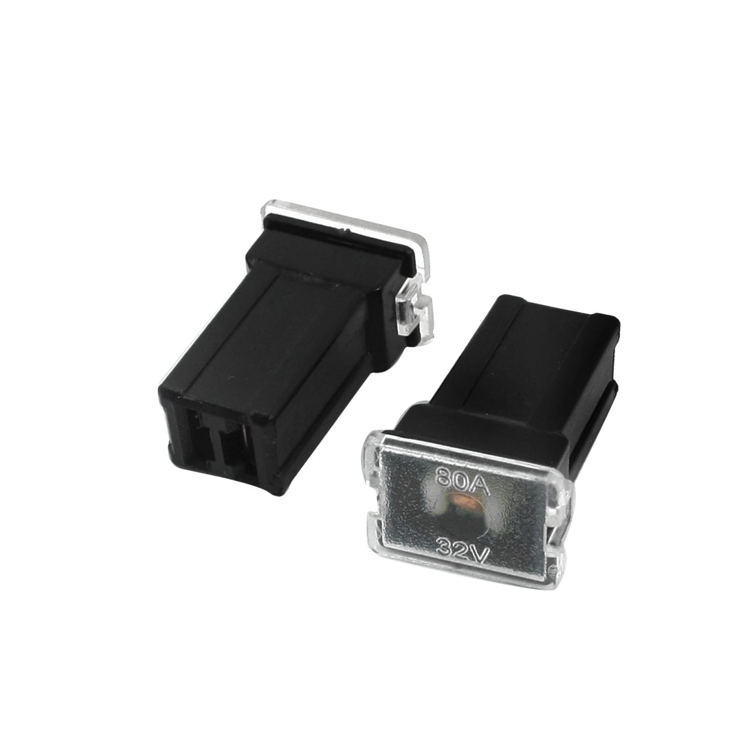 2Pcs Car Vehicle Automotive 2 Terminals Female Plug Type Cartridge PAL Fuse Black DC 32V 80A