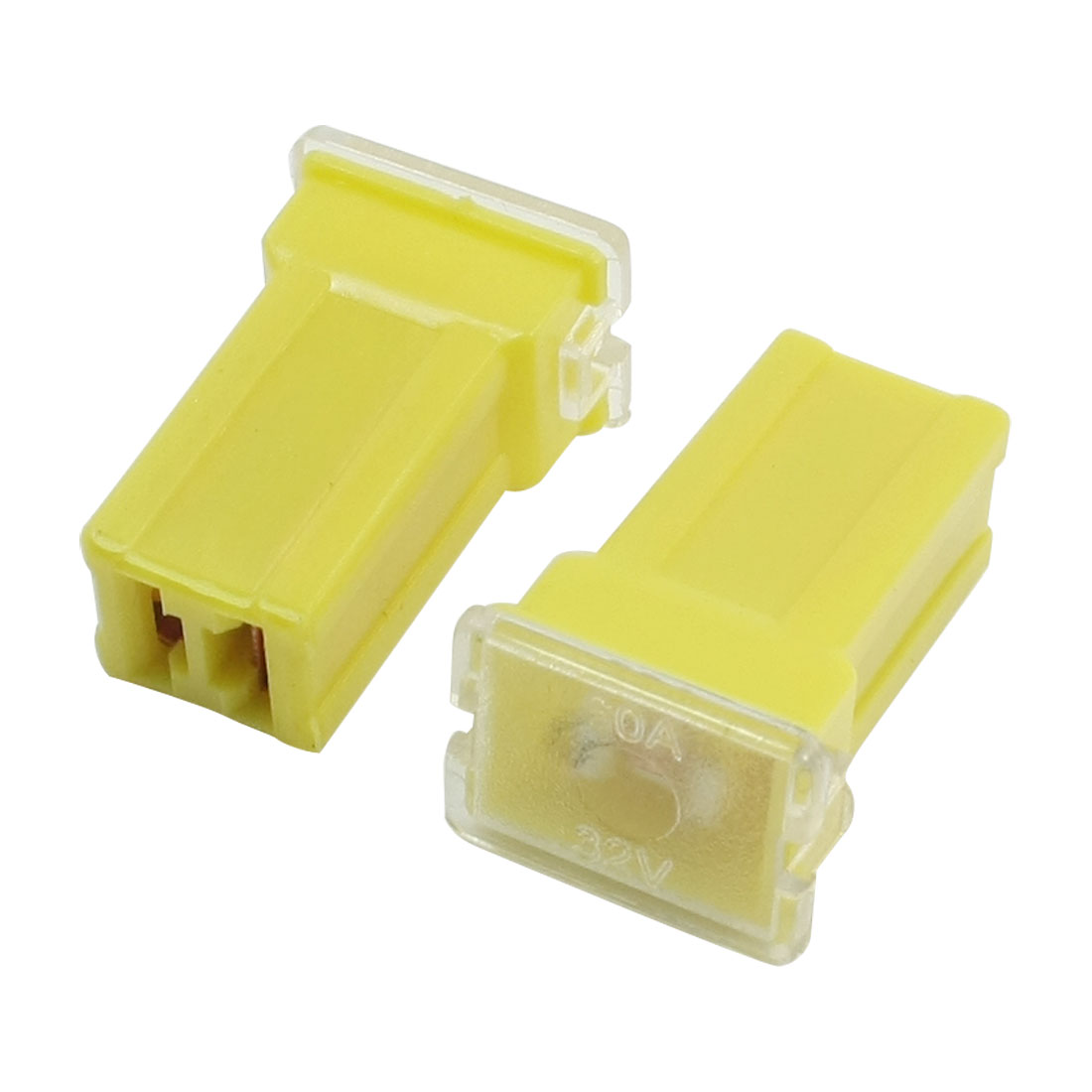 2Pcs Car Vehicle Automotive 2 Terminals Female PAL Cartridge Circuit Breaker Fuse Yellow DC32V 60A