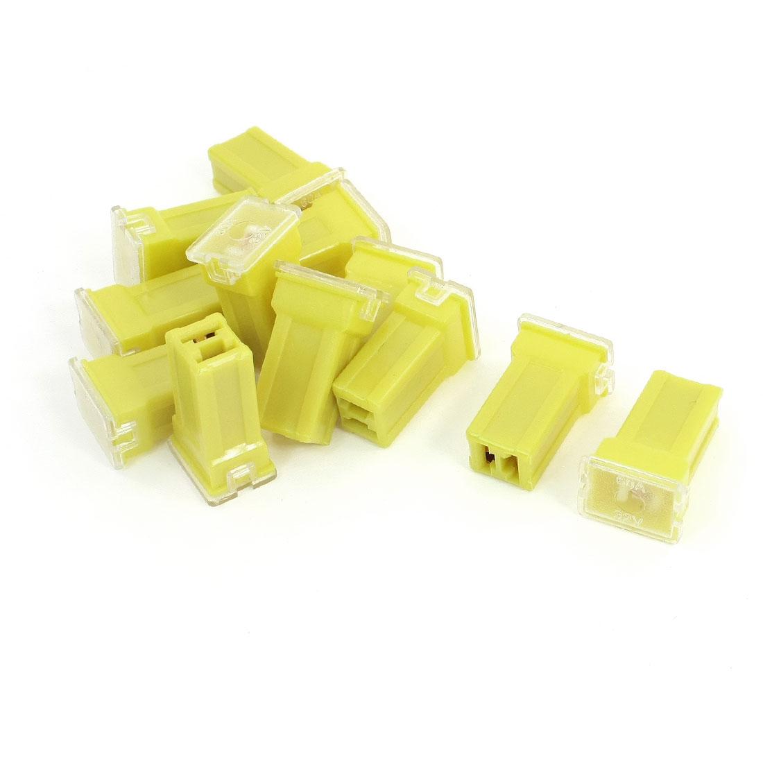 12Pcs DC32V 60A Car Vehicle Automotive 2 Terminals Female PAL Cartridge Circuit Breaker Fuse Yellow