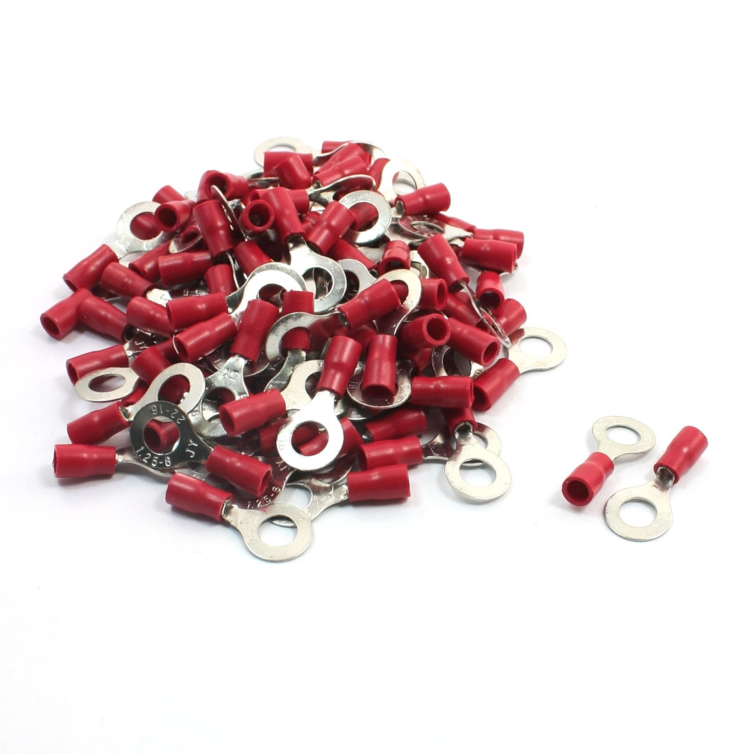 100 Pcs RV1.25-6 Pre-Insulate Ring Terminals Wire Connectors for AWG 22-16 Cable