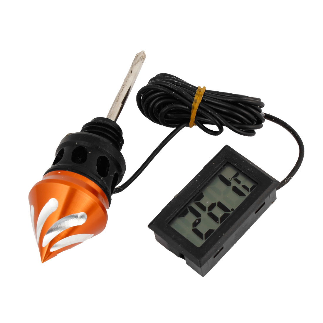 Motorcycle LCD Dipstick Belt Thermometer Digital Oil Meter Set Orange