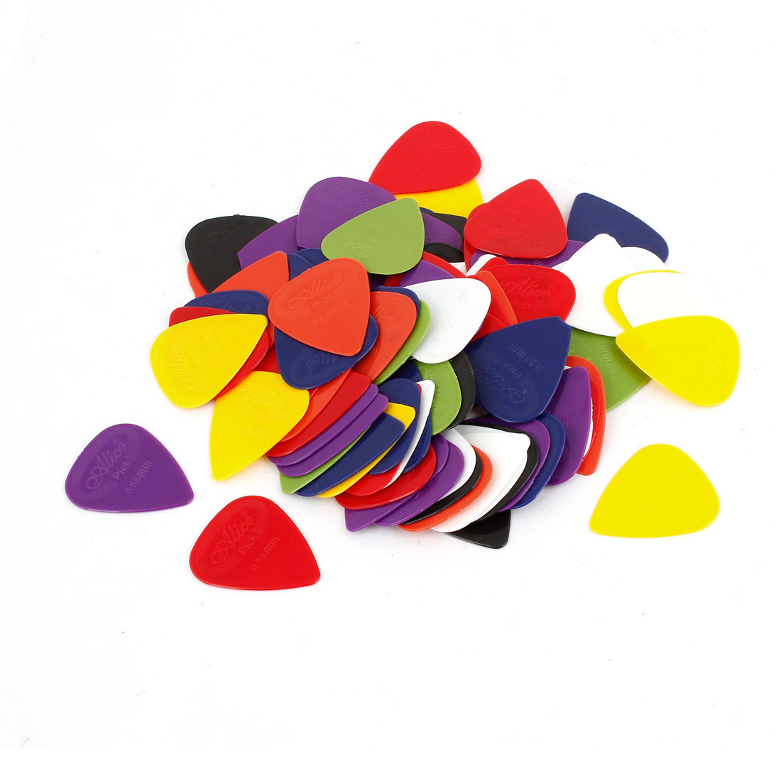 100 Pcs Heart Shaped Music Accessory 0.58mm Guitar Assorted Color Picks Plectrums