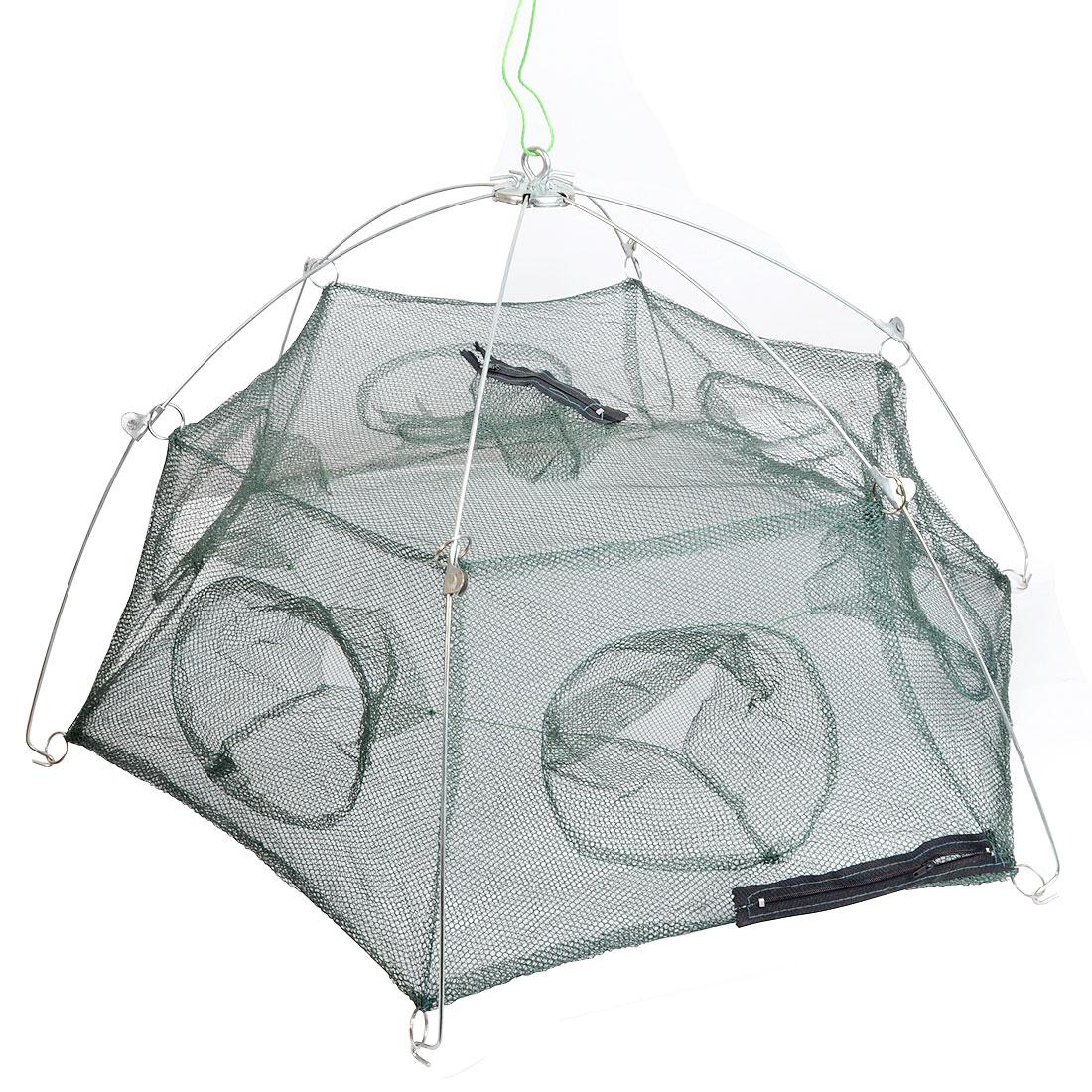 80cmx80cm Dark Green Nylon Mesh Net Fishing Umbrella Crawfish Net