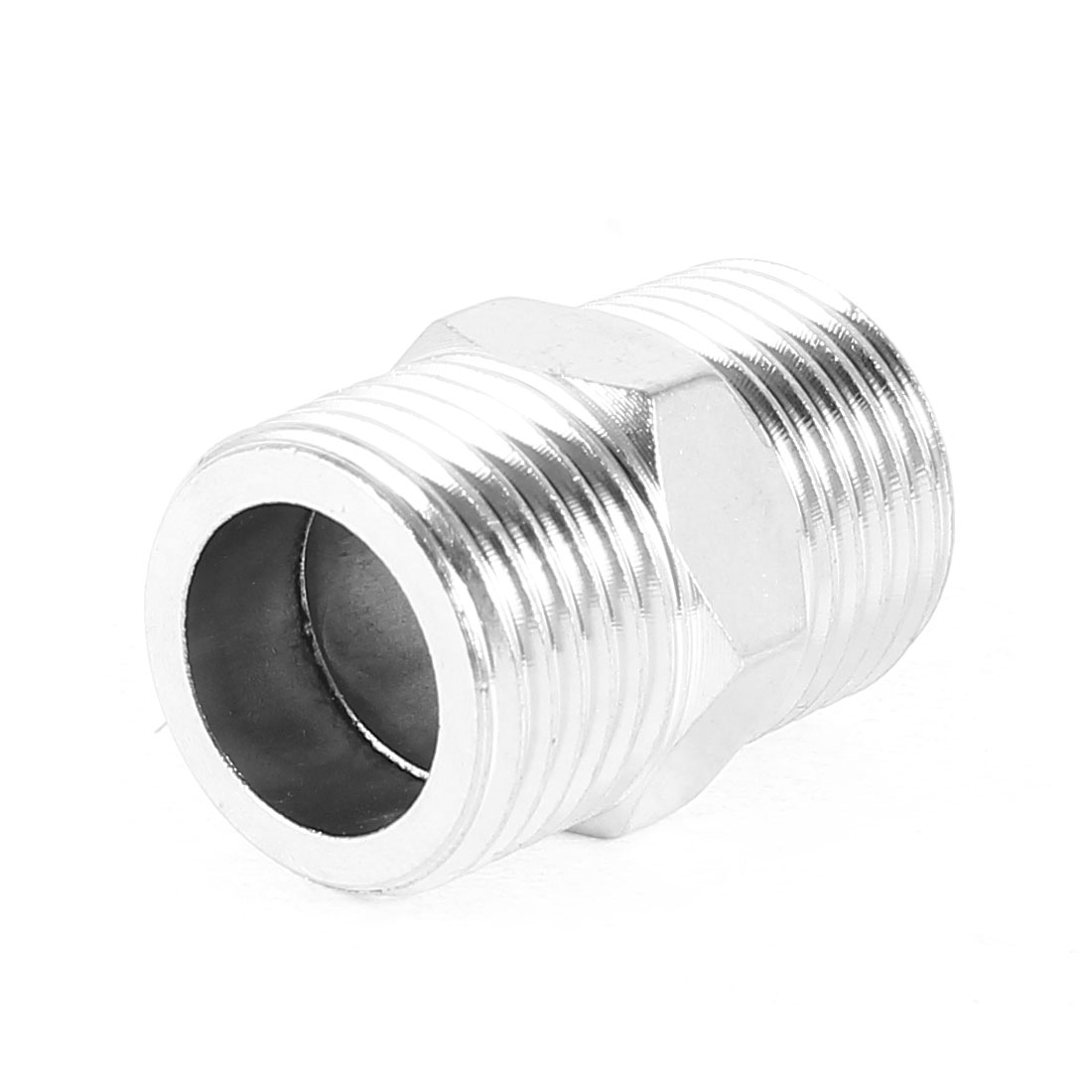 Metal 1/2PT Male Thread Straight Pipe Connector Coupler Adapter Silver Tone
