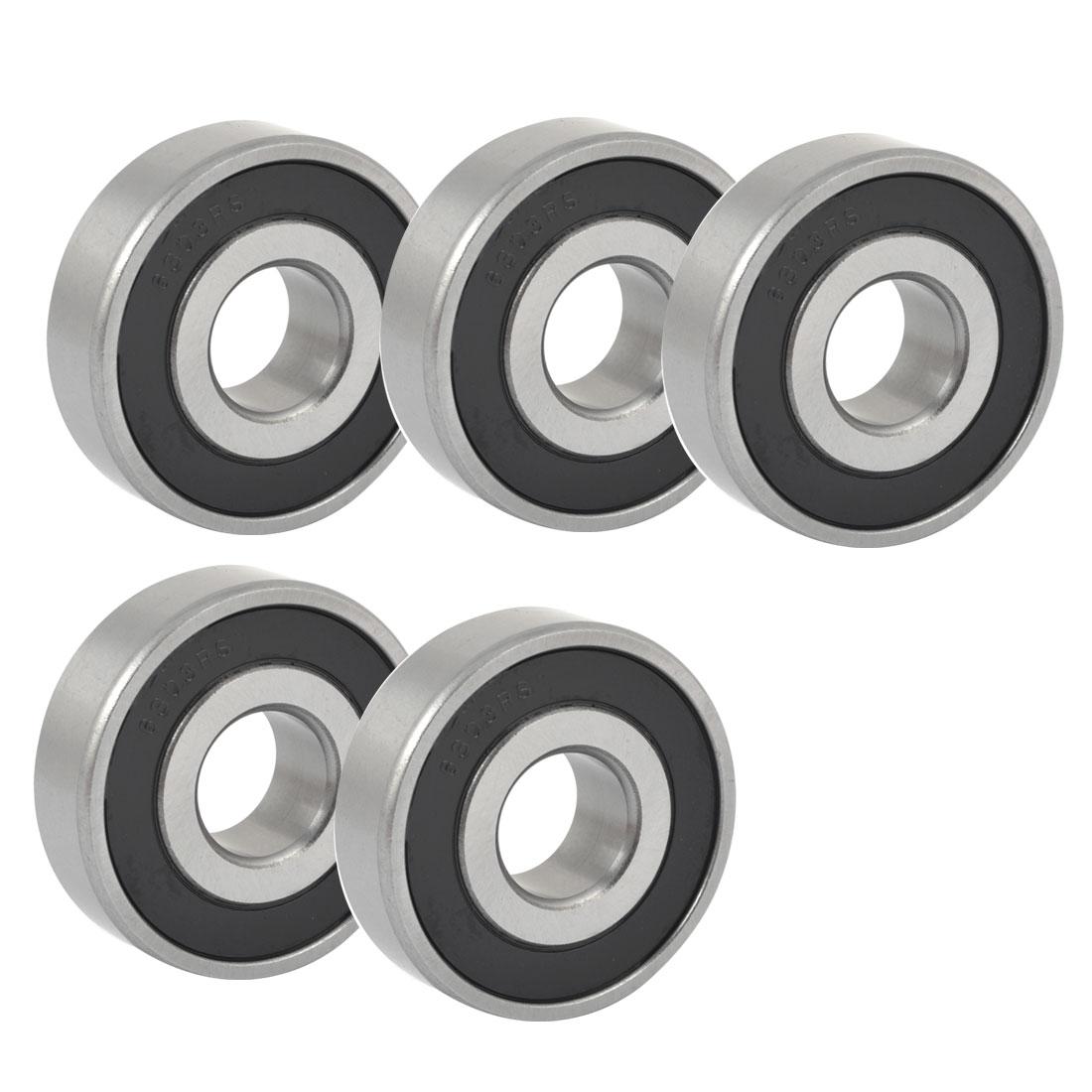 5PCS Silver Tone Black 6303RS Deep Groove Ball Bearing 47mm x 17mm x 14mm