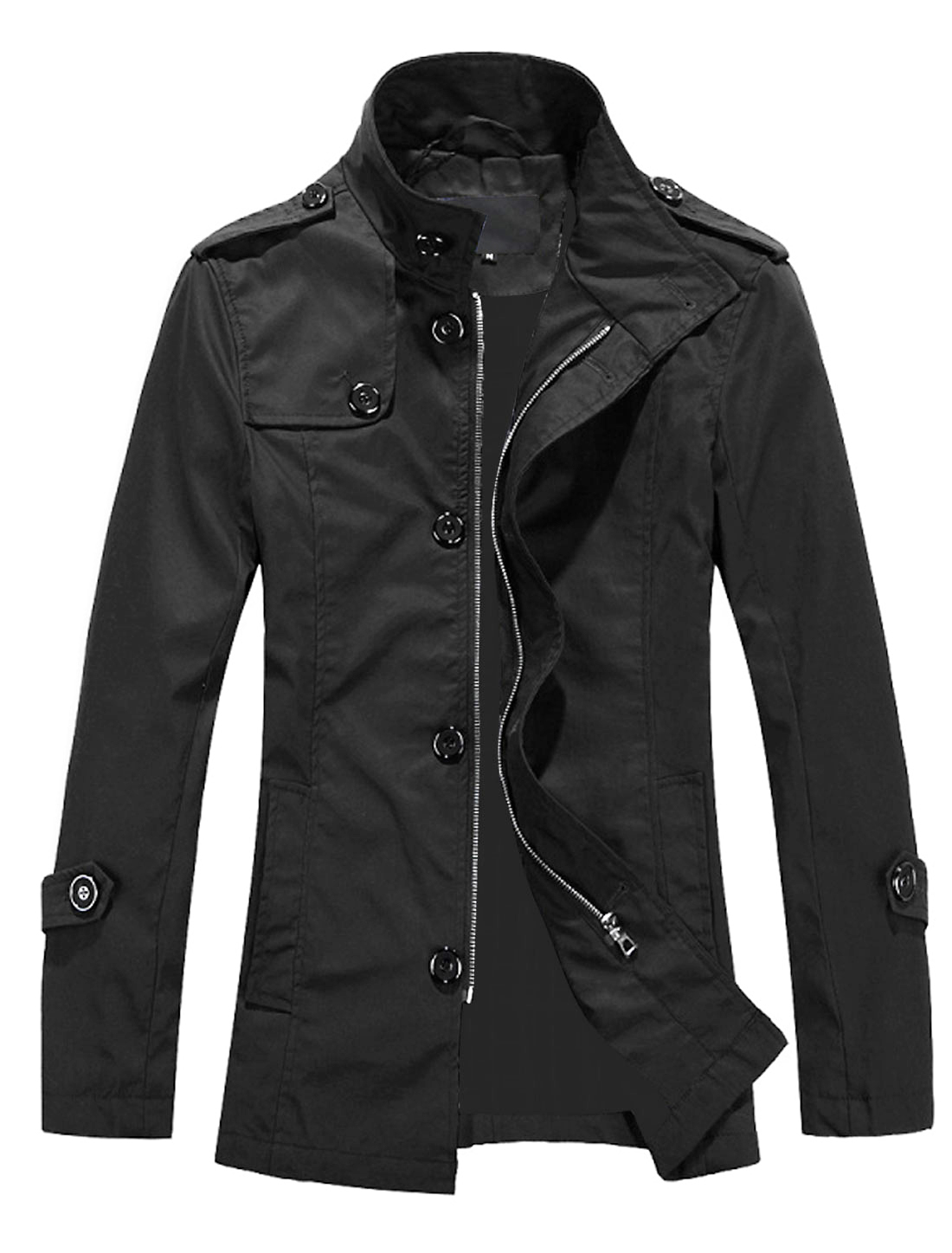 Men Fashion Convertible Collar Gun Flap Detail Front Trench Coat Black M