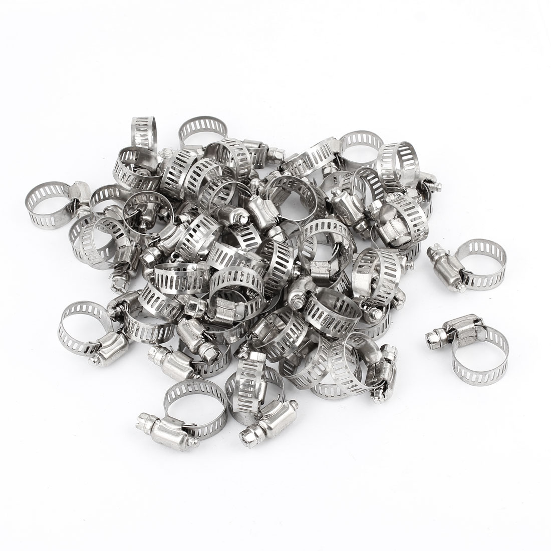 100 Pcs 13mm to 19mm Adjustable Metal Hoop Worm Gear Hose Clamp 10mm Wide Silver Tone Metal