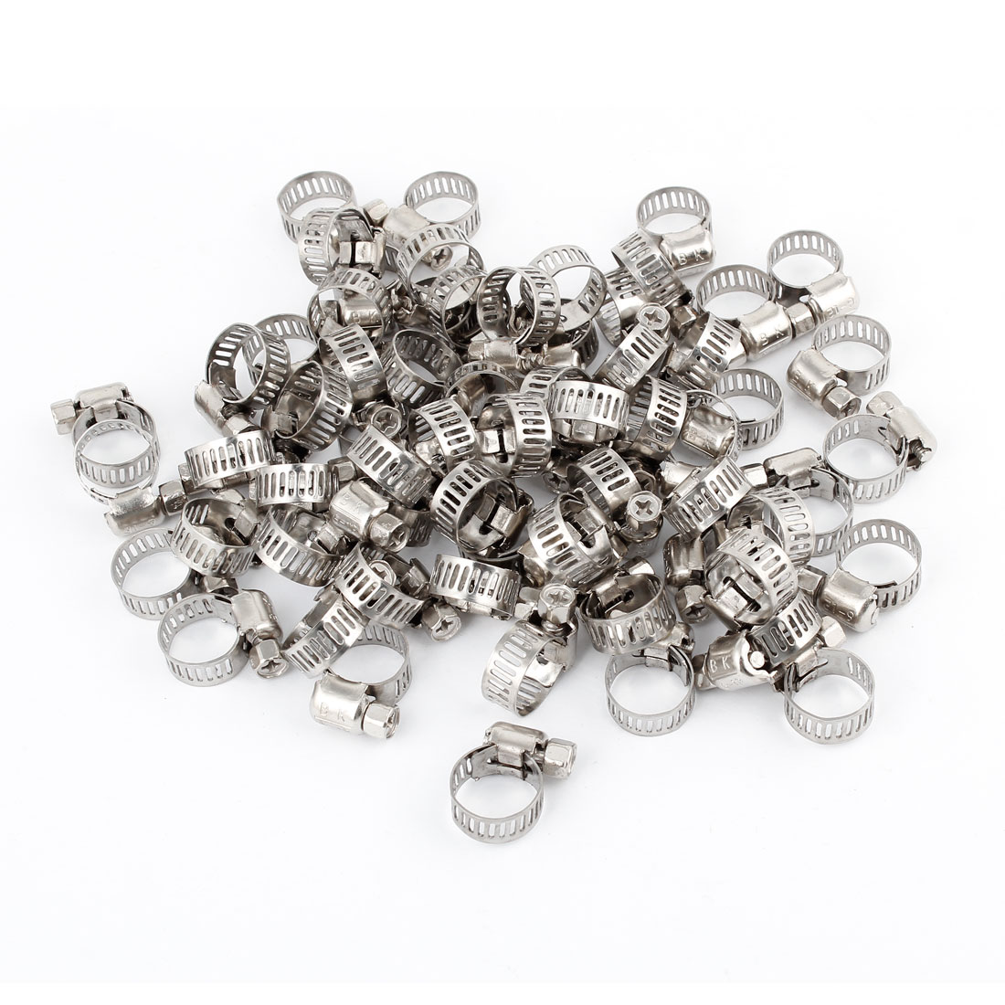 "100 Pcs Silver Tone Metal 0.24""-0.5"" Hoop Ring Worm Drive Hose Clamp Fastener 8mm Wide"