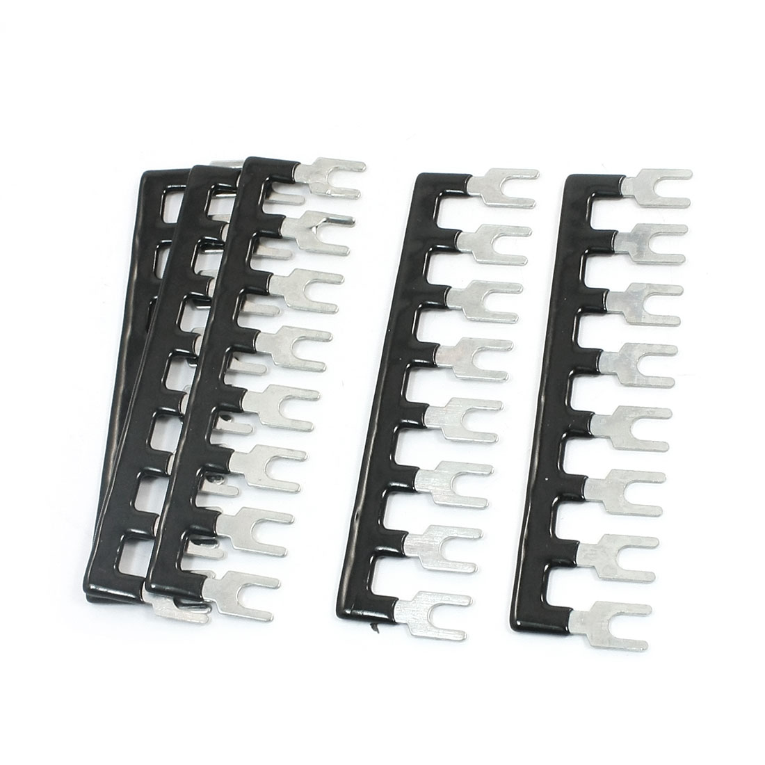 5Pcs TB2508 25A 8-Position Pre-Insulated Fork Type Furcate Barrier Terminal Connector Strip Black