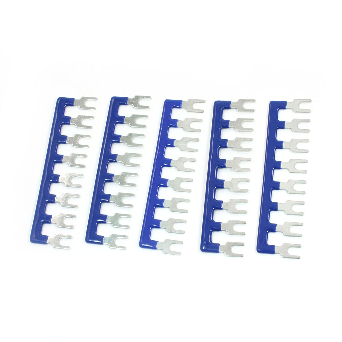 TB2508 25A 8 Position Pre Insulated Fork Type Blue Barrier Terminal Connector Strip 5 Pcs