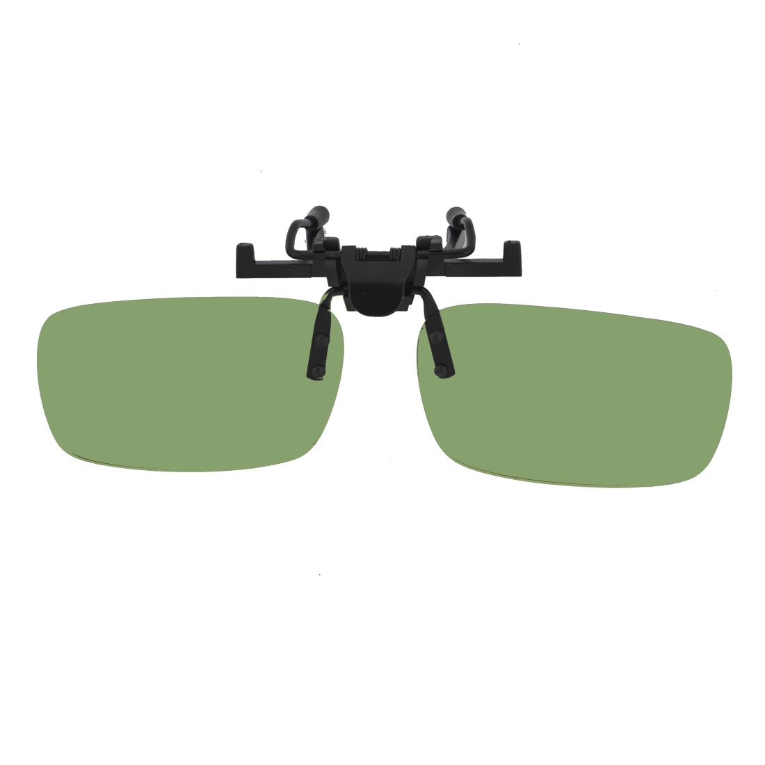 Unisex Green Rectangle Lens Rimless Anti Glare Clip On Driving Sunglasses Eyeglasses