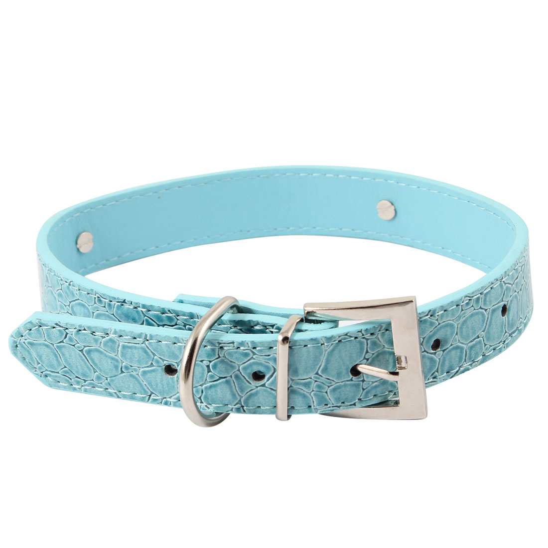 Alligator Printed Adjustable Belt Blue Faux Leather Pet Pekingese Dog Collar L