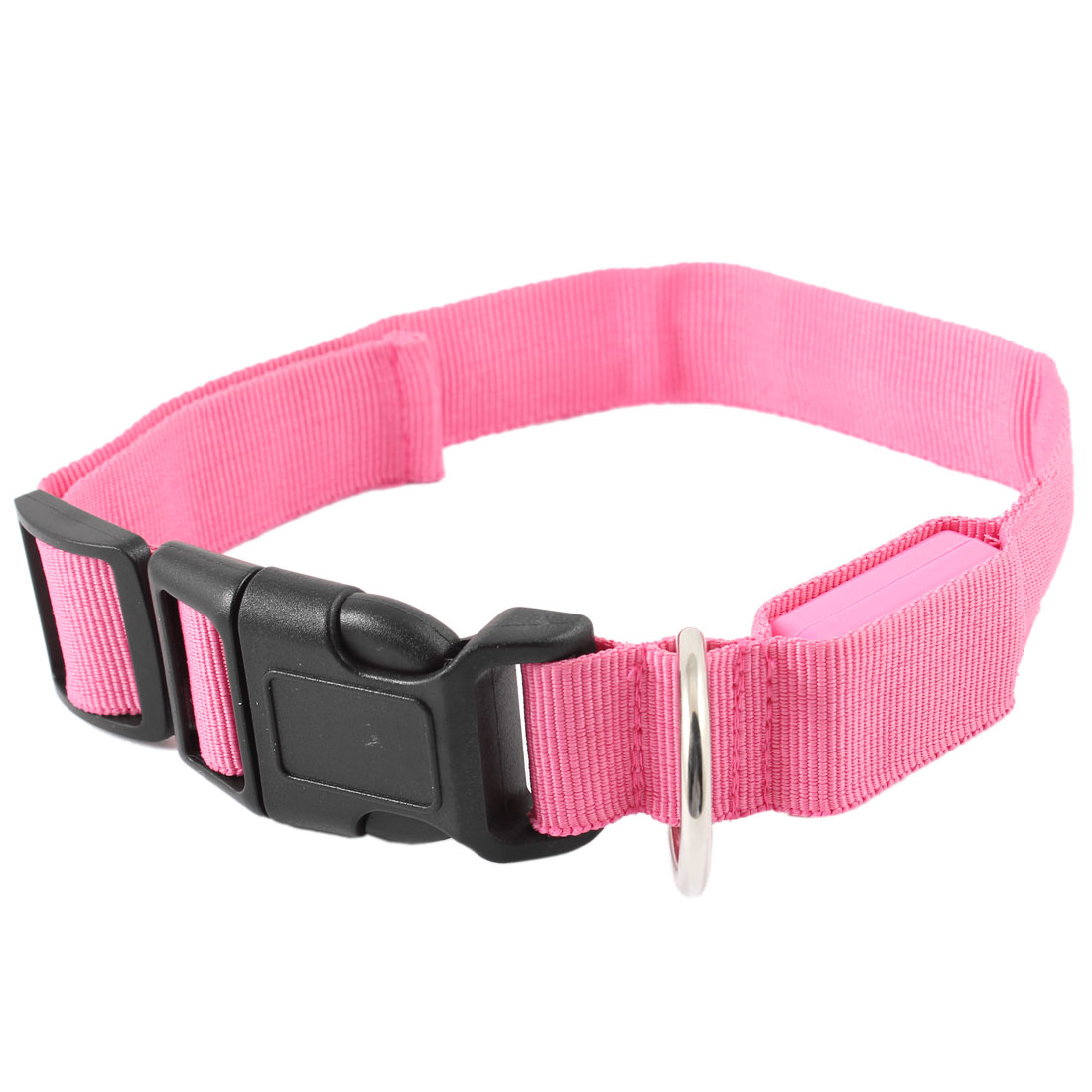 Black Side Buckle Adjustable 3 Modes 5 LEDs Red Light Pet Dog Chihuahua Cat Safety Collar Fuchsia S