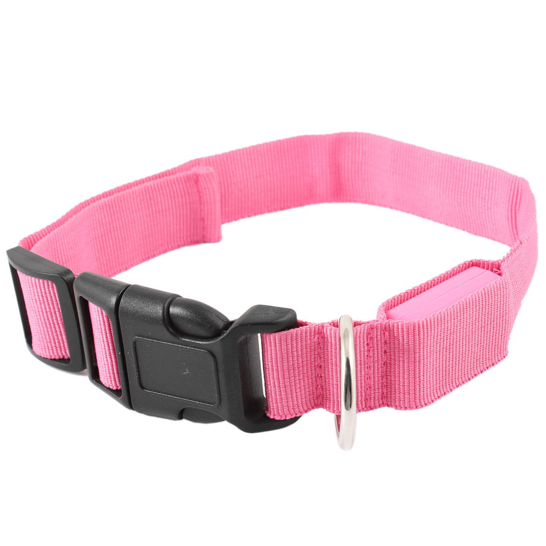 Black Side Buckle Adjustable 3 Modes 5 LEDs Red Light Pet Dog Yorkie Maltese Pomeranian Safety Collar Fuchsia M
