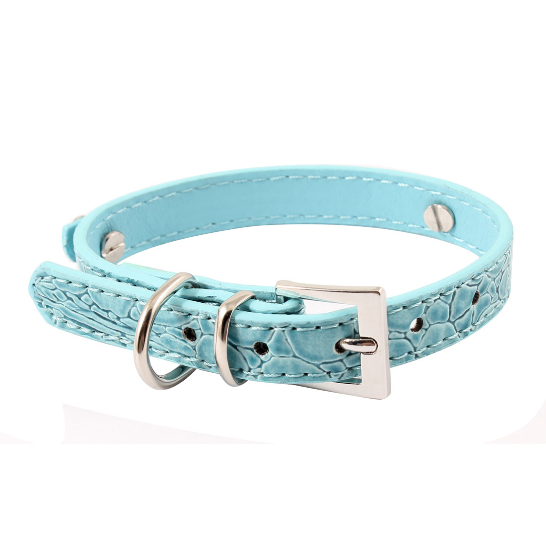 Alligator Printed Single Prong Buckle Adjustable Belt Blue Faux Leather Pet Chihuahua Tea Cup Poodle Tea Cup Yorkie Cat Dog Collar XS