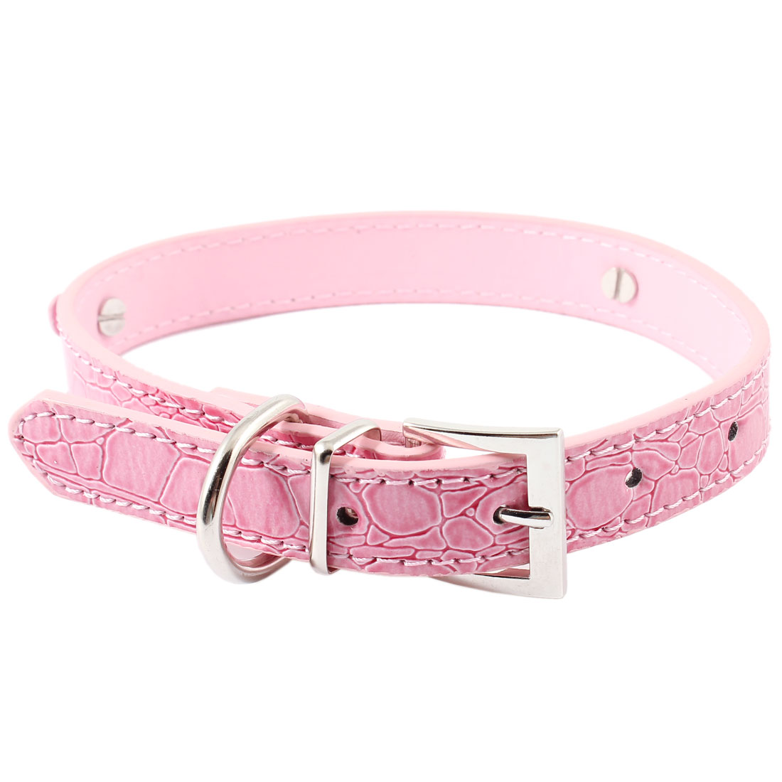 Pet Faux Leather Adjustable Single Prong Buckle Belt Yorkie Dog Collar Pink M