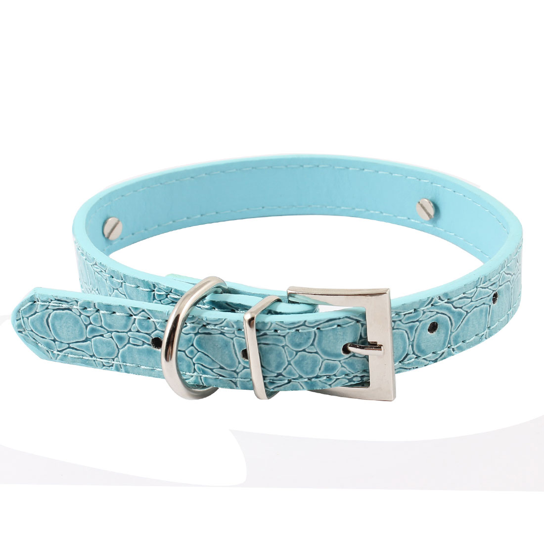 Blue Alligator Printed Adjustable Belt Faux Leather Pet Yorkie Dog Collar M