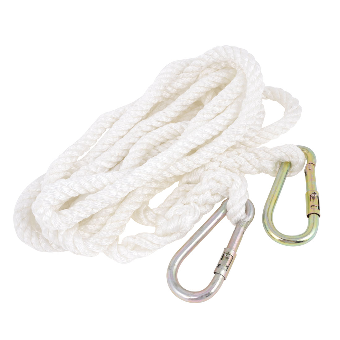 Outdoor Nylon Double Metal Hook Locking Hiking Safety Rope 5 Meters 16Ft Length White
