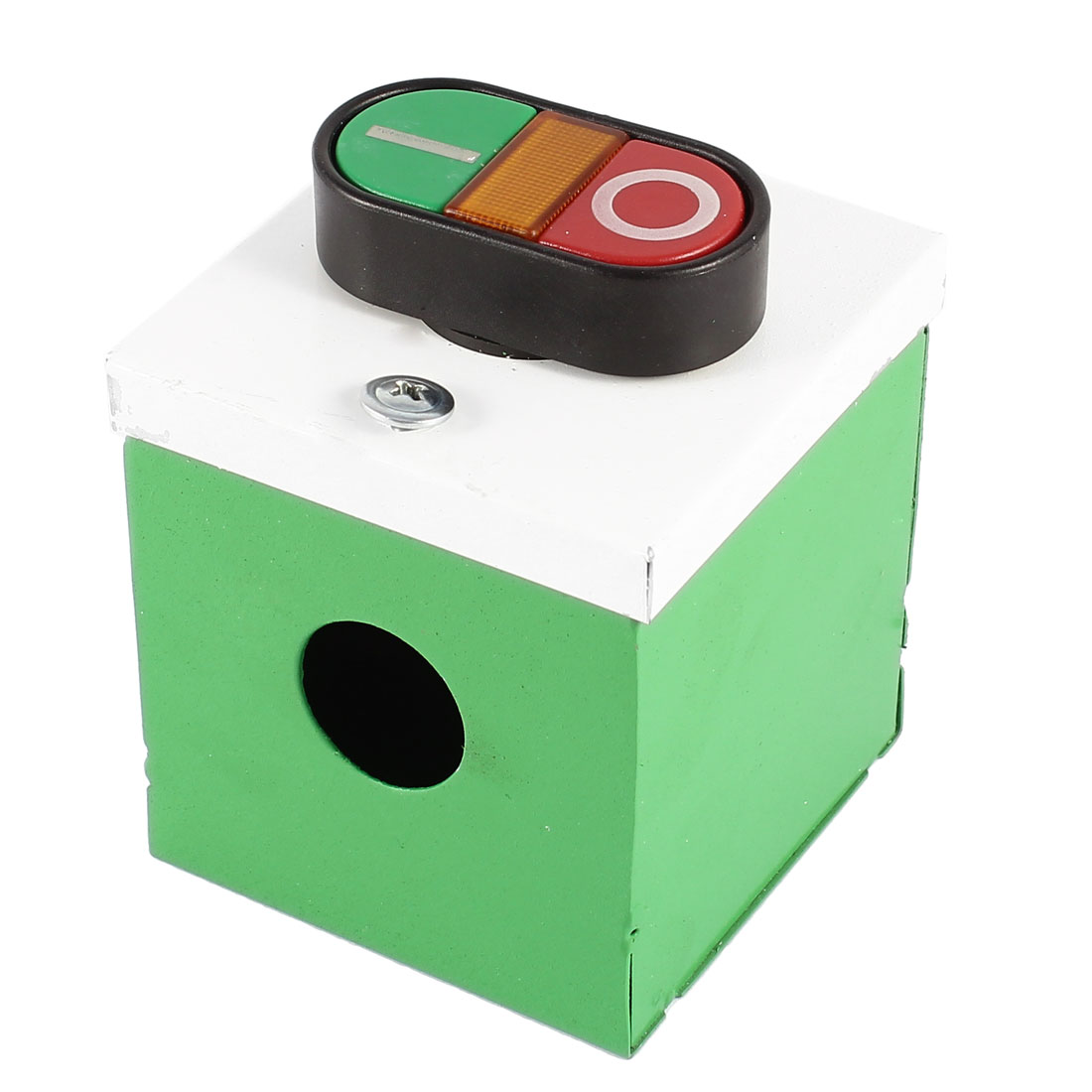 Ui 600V 10A I/O Yellow LED Indication Momentary Push Button Switch Metal Station