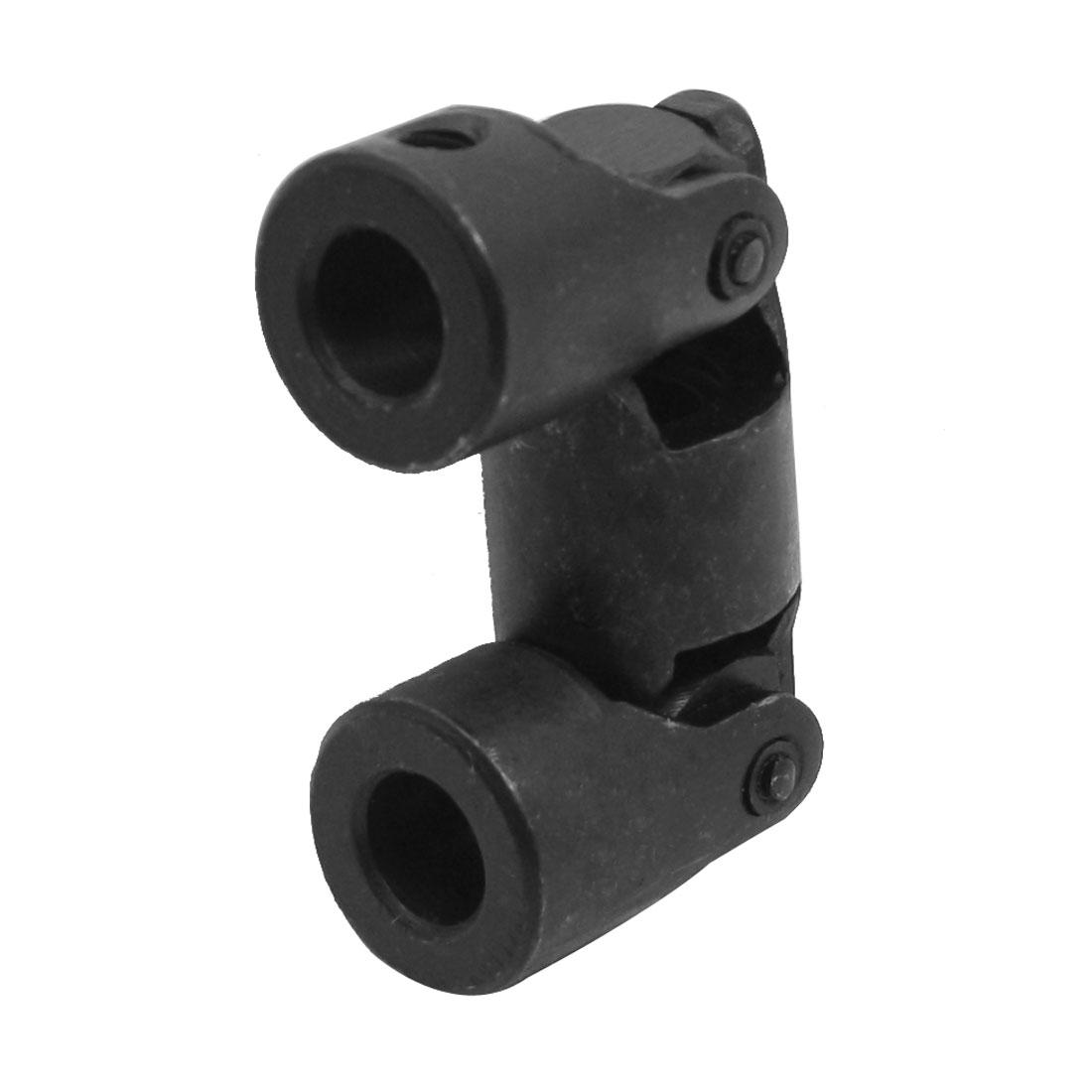 10mm Bore Dia 20mm Diameter 5mm Thread 82mm Long Groove Type Rotatable Black Metal Universal Joint
